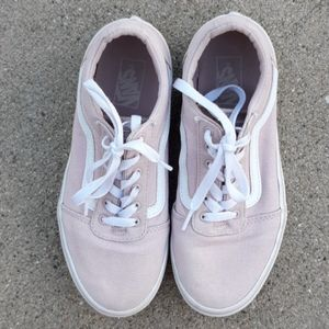 Vans pale pink low top sneakers girls sz 4